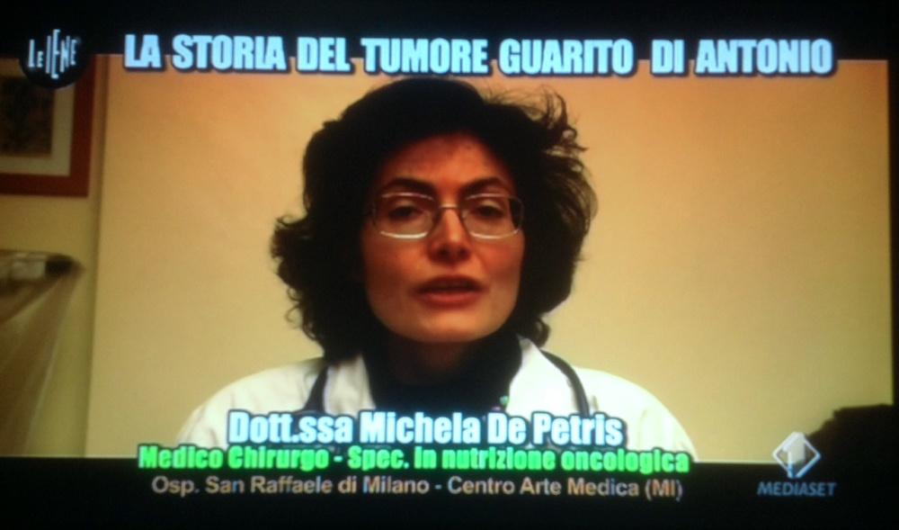 Dottoressa Michela de pietris nutrizione oncologica Le Iene cura al tumore dieta vegetali Vegano Italia 1 Antonio