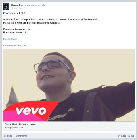 Clementino sostiene rocco hunt su facebook per Sanremo