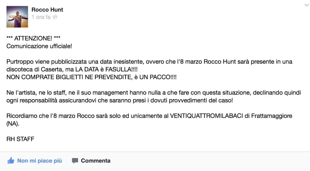 Smentita la presenza di Rocco Hunt a Caserta l'8 Marzo.